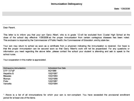 Immunization delinquency letter altavistaventures Gallery
