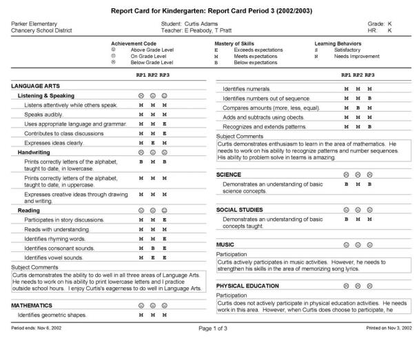 Sample Report Cards Cdbg Subrecipient Performance Report Card